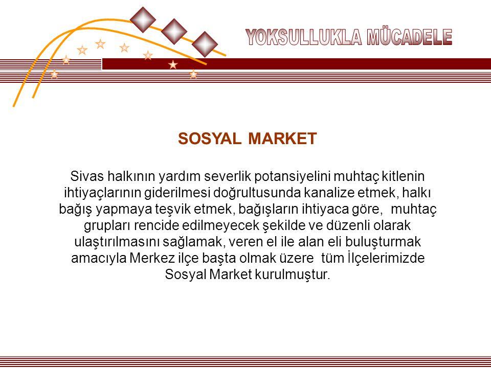 SOSYAL MARKET Sivas halkının yardım severlik potansiyelini muhtaç kitlenin ihtiyaçlarının giderilmesi doğrultusunda kanalize etmek, halkı bağış yapmay