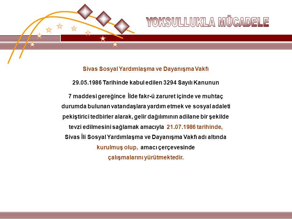 Sivas Sosyal Yardımlaşma ve Dayanışma Vakfı 29.05.1986 Tarihinde kabul edilen 3294 Sayılı Kanunun 7 maddesi gereğince İlde fakr-ü zaruret içinde ve mu