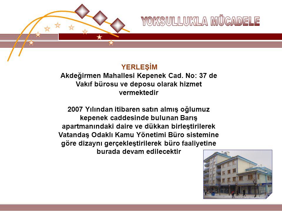 YERLEŞİM Akdeğirmen Mahallesi Kepenek Cad. No: 37 de Vakıf bürosu ve deposu olarak hizmet vermektedir 2007 Yılından itibaren satın almış oğlumuz kepen