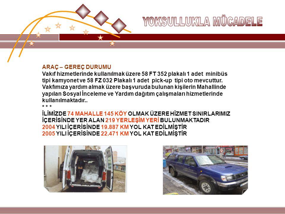 ARAÇ – GEREÇ DURUMU Vakıf hizmetlerinde kullanılmak üzere 58 FT 352 plakalı 1 adet minibüs tipi kamyonet ve 58 FZ 032 Plakalı 1 adet pick-up tipi oto