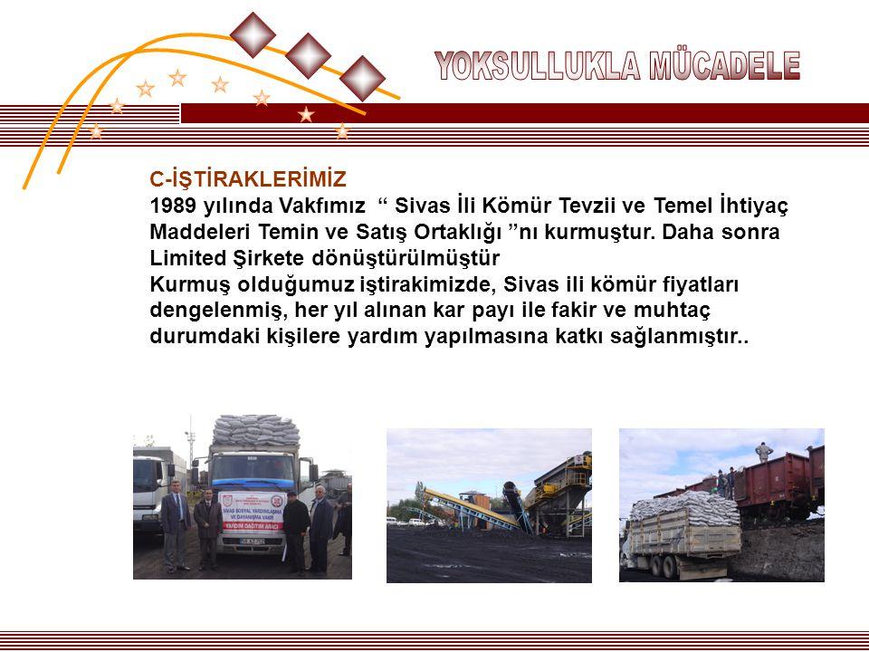 """C-İŞTİRAKLERİMİZ 1989 yılında Vakfımız """" Sivas İli Kömür Tevzii ve Temel İhtiyaç Maddeleri Temin ve Satış Ortaklığı """"nı kurmuştur. Daha sonra Limited"""