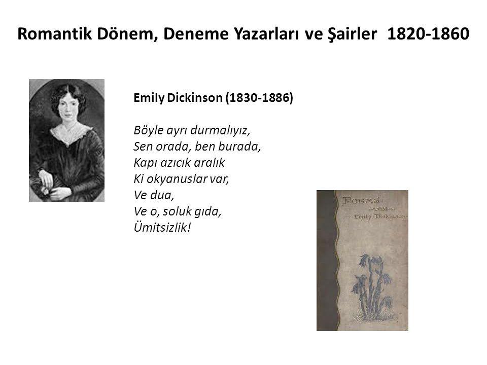 Emily Dickinson (1830-1886) Böyle ayrı durmalıyız, Sen orada, ben burada, Kapı azıcık aralık Ki okyanuslar var, Ve dua, Ve o, soluk gıda, Ümitsizlik!