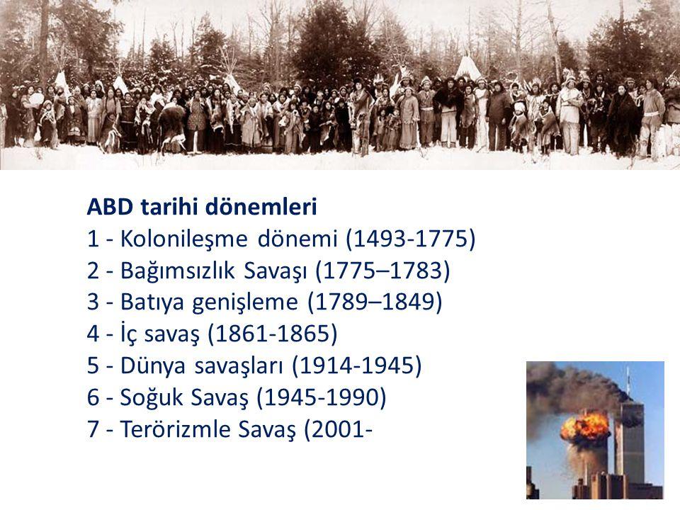 ABD tarihi dönemleri 1 - Kolonileşme dönemi (1493-1775) 2 - Bağımsızlık Savaşı (1775–1783) 3 - Batıya genişleme (1789–1849) 4 - İç savaş (1861-1865) 5