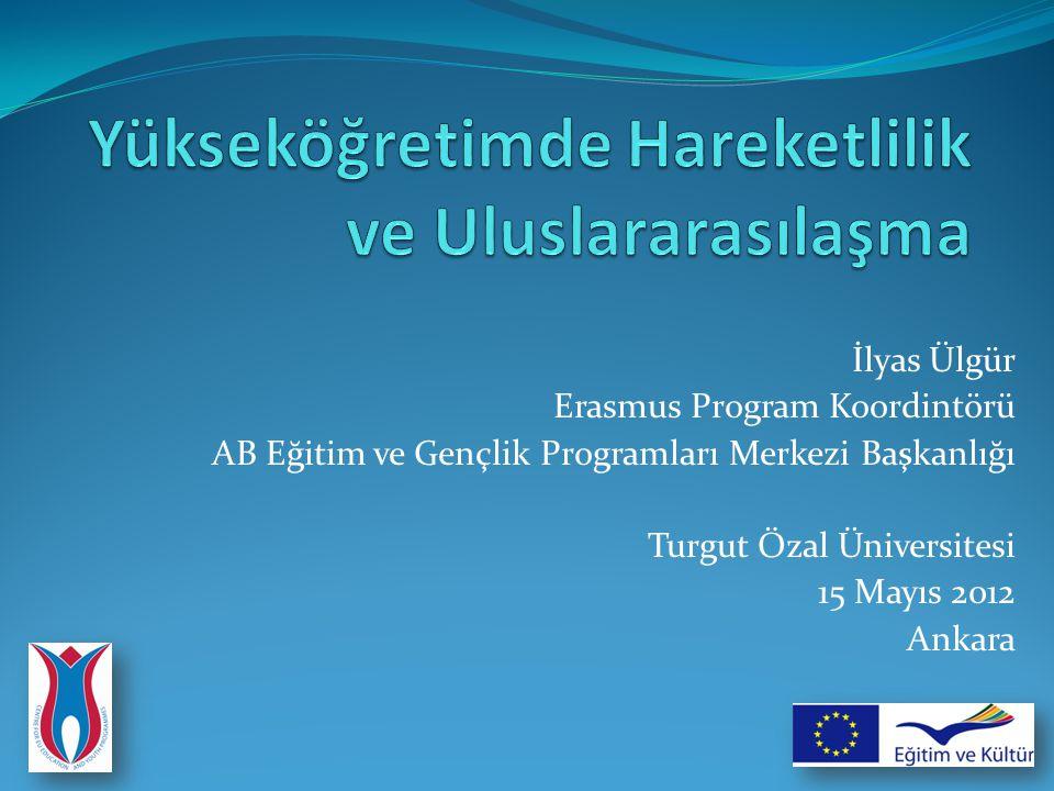 İlyas Ülgür Erasmus Program Koordintörü AB Eğitim ve Gençlik Programları Merkezi Başkanlığı Turgut Özal Üniversitesi 15 Mayıs 2012 Ankara