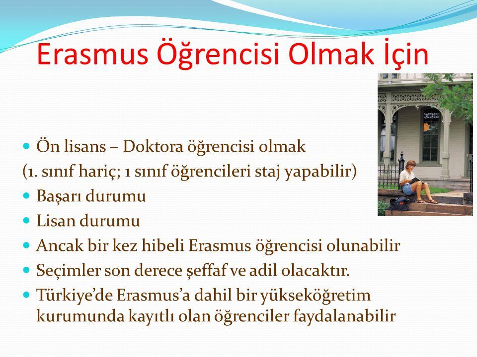 Erasmus Öğrencisi Olmak İçin Ön lisans – Doktora öğrencisi olmak (1. sınıf hariç; 1 sınıf öğrencileri staj yapabilir) Başarı durumu Lisan durumu Ancak