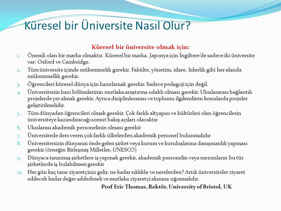 Küresel bir Üniversite Nasıl Olur? Küresel bir üniversite olmak için: 1. Önemli olan bir marka olmaktır. Küresel bir marka. Japonya için İngiltere'de