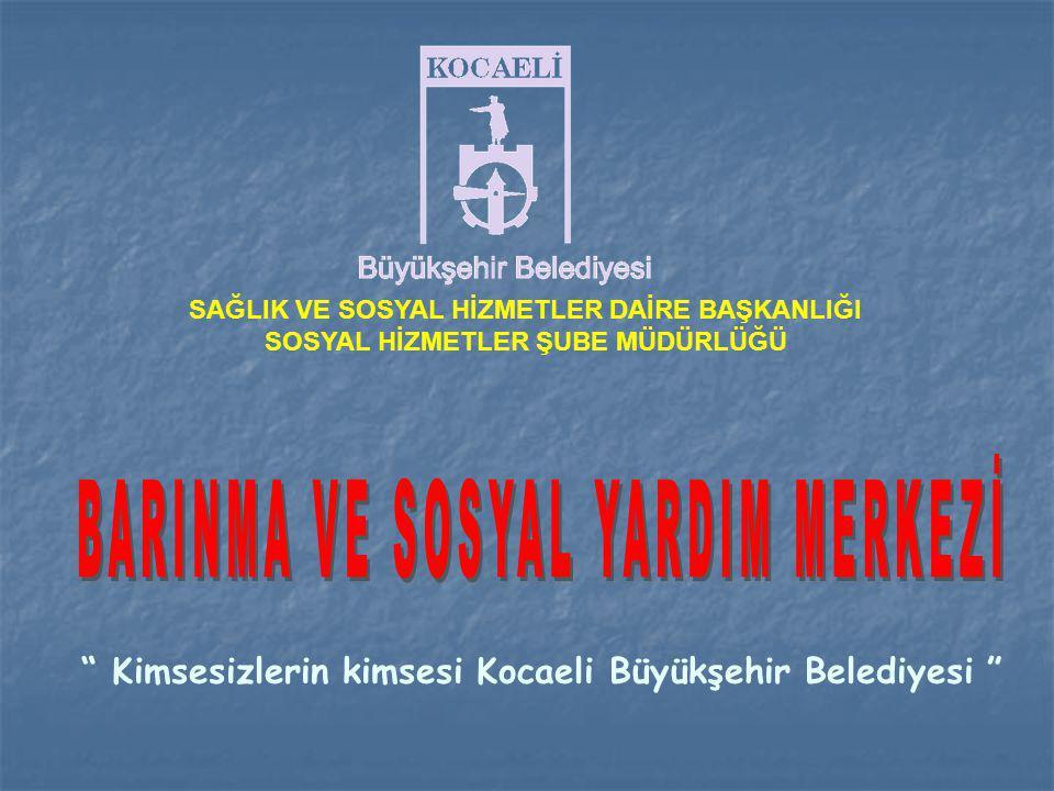 SAĞLIK VE SOSYAL HİZMETLER DAİRE BAŞKANLIĞI SOSYAL HİZMETLER ŞUBE MÜDÜRLÜĞÜ Kimsesizlerin kimsesi Kocaeli Büyükşehir Belediyesi