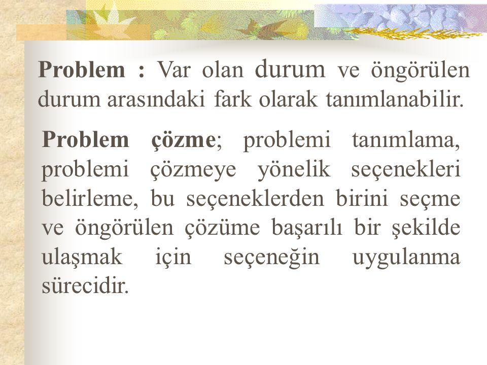 Problem : Var olan durum ve öngörülen durum arasındaki fark olarak tanımlanabilir. Problem çözme; problemi tanımlama, problemi çözmeye yönelik seçenek