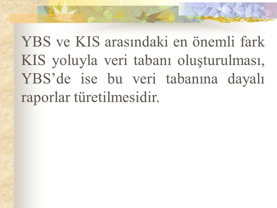 YBS ve KIS arasındaki en önemli fark KIS yoluyla veri tabanı oluşturulması, YBS'de ise bu veri tabanına dayalı raporlar türetilmesidir.