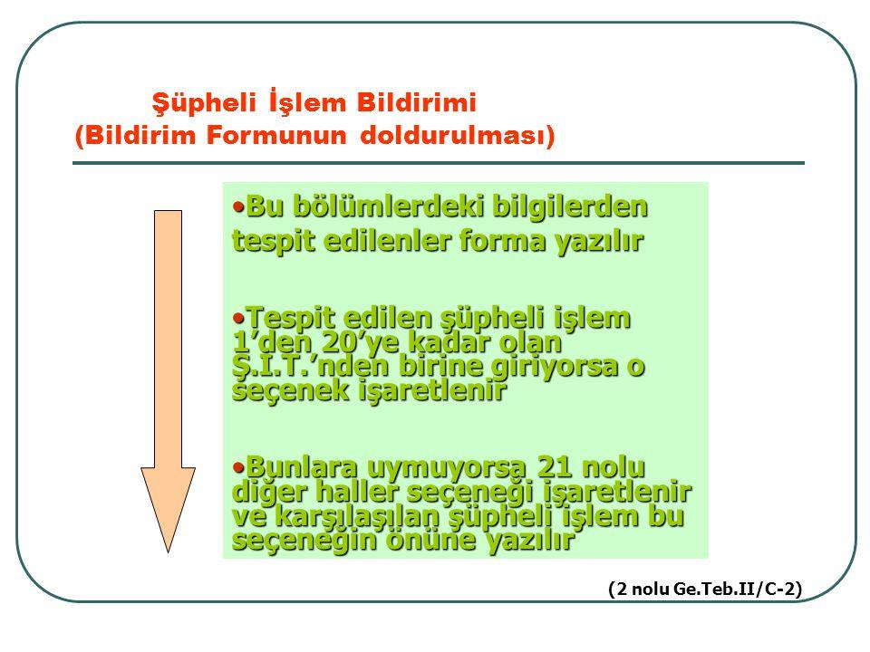 Şüpheli İşlem Bildirimi (Bildirim Formunun doldurulması) Bu bölümlerdeki bilgilerden tespit edilenler forma yazılırBu bölümlerdeki bilgilerden tespit
