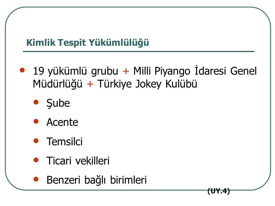 19 yükümlü grubu + Milli Piyango İdaresi Genel Müdürlüğü + Türkiye Jokey Kulübü Şube Acente Temsilci Ticari vekilleri Benzeri bağlı birimleri Kimlik T