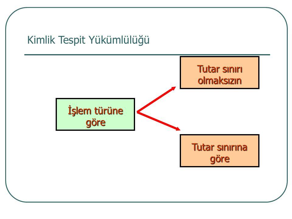 Kimlik Tespit Yükümlülüğü İşlem türüne göre Tutar sınırı olmaksızın Tutar sınırına göre