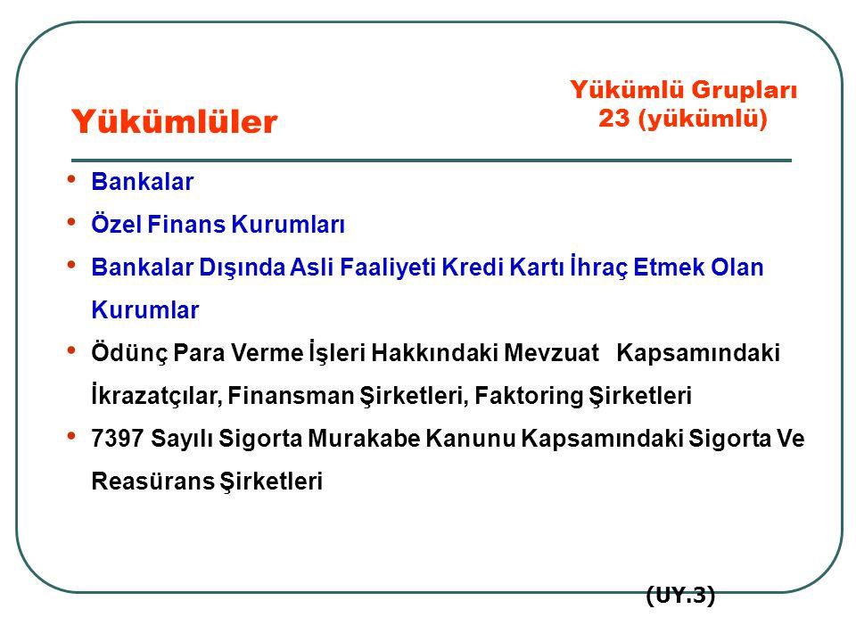 İstanbul Menkul Kıymetler Borsası Takas Ve Saklama Bankası A.Ş Sermaye Piyasası Aracı Kurumları ve Portföy Yönetim Şirketleri Yatırım Fonu Yöneticileri Yatırım Ortaklıkları Kıymetli Madenler Borsası Aracı Kuruluşları Kıymetli Maden, Taş Veya Mücevherlerin Alım- Satımını Yapanlar Yükümlüler