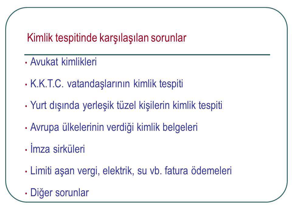 Kimlik tespitinde karşılaşılan sorunlar Avukat kimlikleri K.K.T.C. vatandaşlarının kimlik tespiti Yurt dışında yerleşik tüzel kişilerin kimlik tespiti