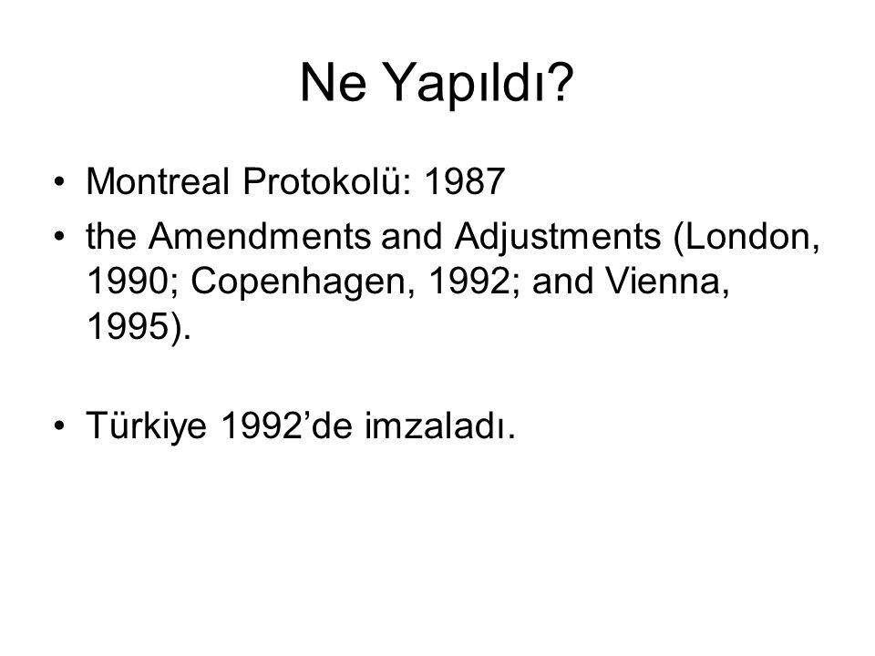 Ne Yapıldı? Montreal Protokolü: 1987 the Amendments and Adjustments (London, 1990; Copenhagen, 1992; and Vienna, 1995). Türkiye 1992'de imzaladı.