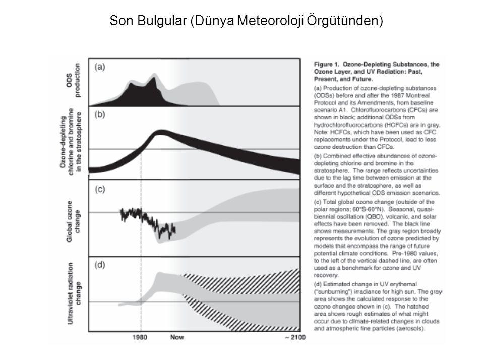 Son Bulgular (Dünya Meteoroloji Örgütünden) 1970'deki değerlere oranla 2000 yılı için about 6% at Northern Hemisphere midlatitudes in winter/spring; a