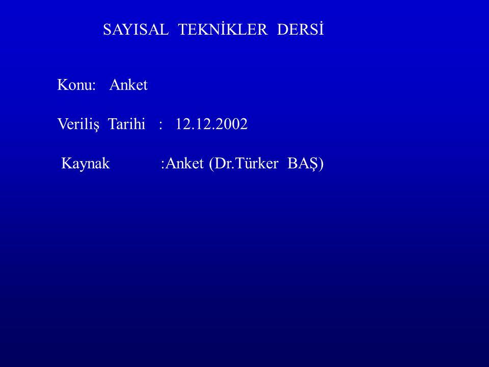 SAYISAL TEKNİKLER DERSİ Konu: Anket Veriliş Tarihi : 12.12.2002 Kaynak :Anket (Dr.Türker BAŞ)