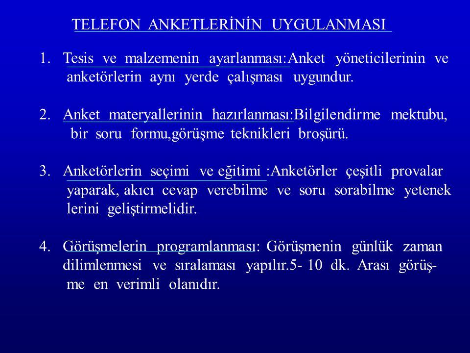 TELEFON ANKETLERİNİN UYGULANMASI 1.Tesis ve malzemenin ayarlanması:Anket yöneticilerinin ve anketörlerin aynı yerde çalışması uygundur. 2.Anket matery