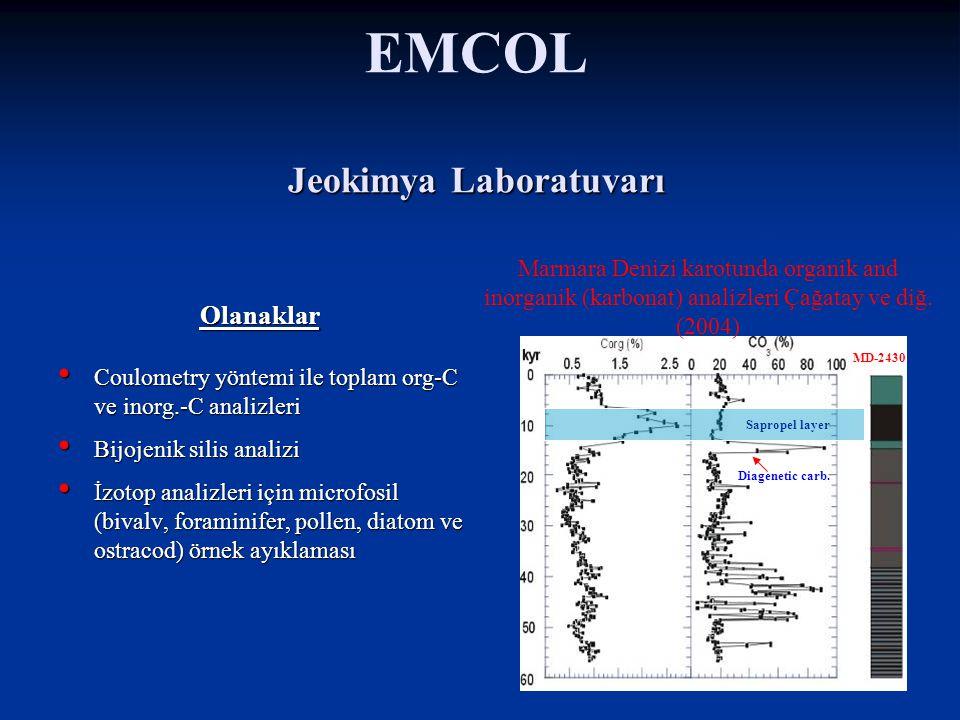 EMCOL Yaş Karot Laboratuvarı Karot kesme Fotoğraf ve tanımlama Jeoteknik deneyler Örnekleme Yaş eleme Soğuk Karot Ambarı Yatay 210 adet 1 m karot bölmeleri için raflar Sürekli sıcaklık izleme ve alarm sistemi