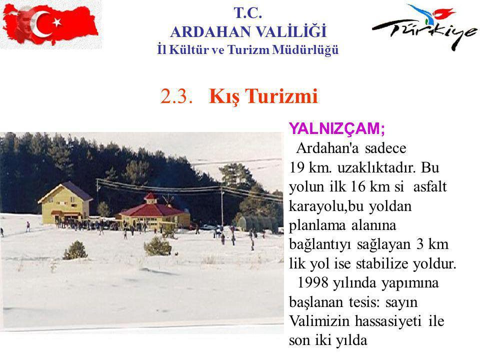 T.C. ARDAHAN VALİLİĞİ İl Kültür ve Turizm Müdürlüğü 2.3.Kış Turizmi YALNIZÇAM; Ardahan'a sadece 19 km. uzaklıktadır. Bu yolun ilk 16 km si asfalt kara