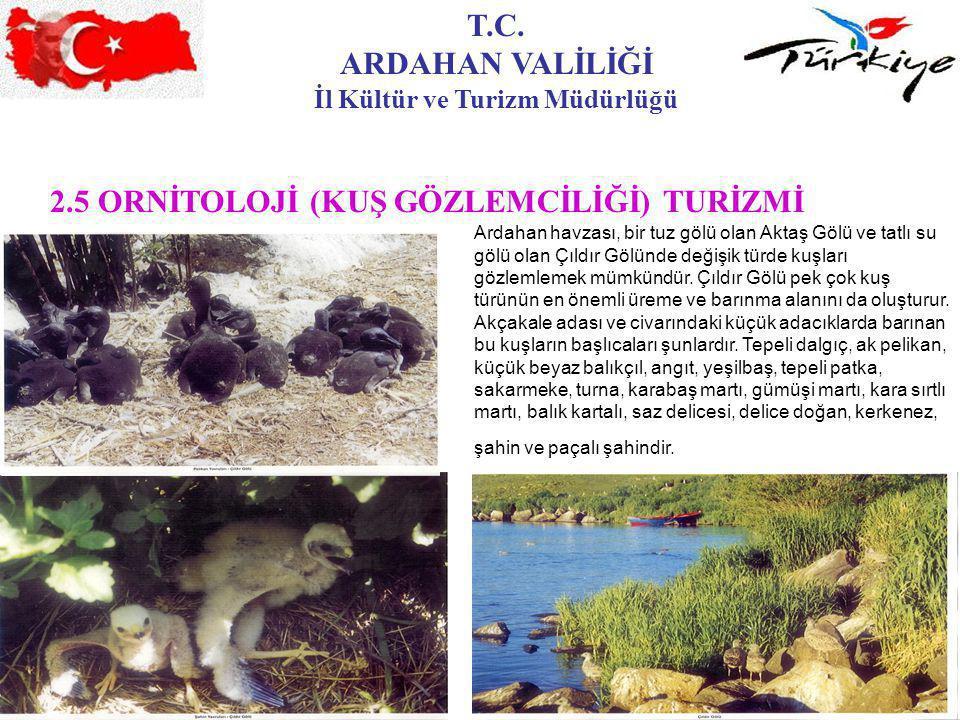 T.C. ARDAHAN VALİLİĞİ İl Kültür ve Turizm Müdürlüğü 2.5 ORNİTOLOJİ (KUŞ GÖZLEMCİLİĞİ) TURİZMİ Ardahan havzası, bir tuz gölü olan Aktaş Gölü ve tatlı s
