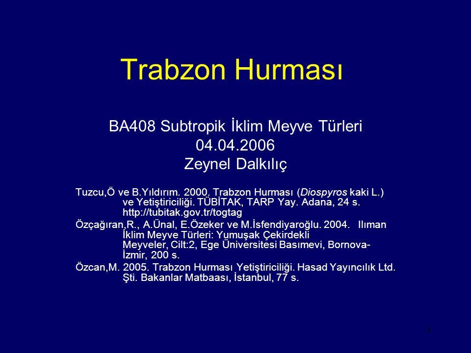 1 Trabzon Hurması BA408 Subtropik İklim Meyve Türleri 04.04.2006 Zeynel Dalkılıç Tuzcu,Ö ve B.Yıldırım. 2000. Trabzon Hurması (Diospyros kaki L.) ve Y