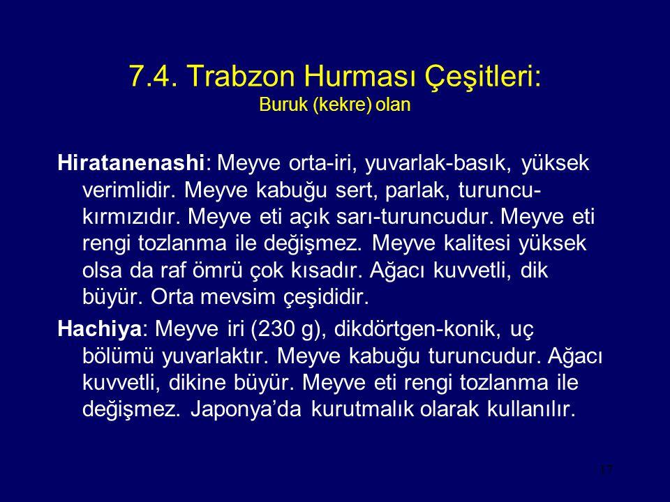 17 7.4. Trabzon Hurması Çeşitleri: Buruk (kekre) olan Hiratanenashi: Meyve orta-iri, yuvarlak-basık, yüksek verimlidir. Meyve kabuğu sert, parlak, tur