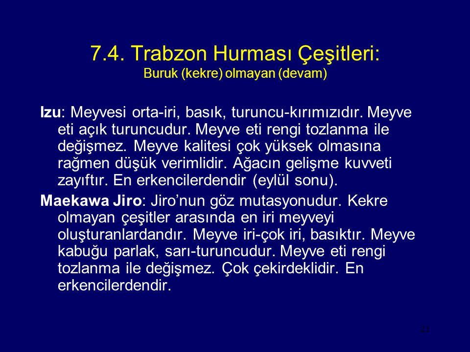 21 7.4. Trabzon Hurması Çeşitleri: Buruk (kekre) olmayan (devam) Izu: Meyvesi orta-iri, basık, turuncu-kırımızıdır. Meyve eti açık turuncudur. Meyve e