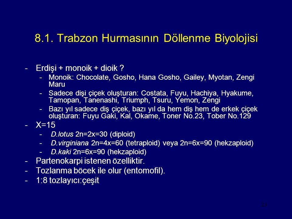 23 8.1. Trabzon Hurmasının Döllenme Biyolojisi -Erdişi + monoik + dioik ? -Monoik: Chocolate, Gosho, Hana Gosho, Gailey, Myotan, Zengi Maru -Sadece di