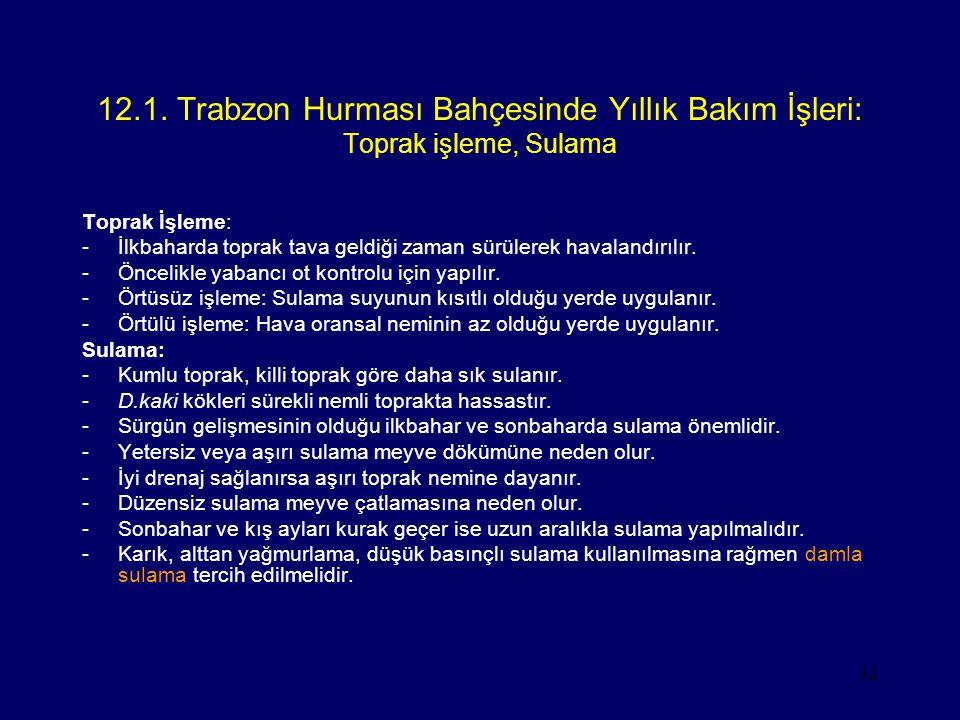 32 12.1. Trabzon Hurması Bahçesinde Yıllık Bakım İşleri: Toprak işleme, Sulama Toprak İşleme: -İlkbaharda toprak tava geldiği zaman sürülerek havaland