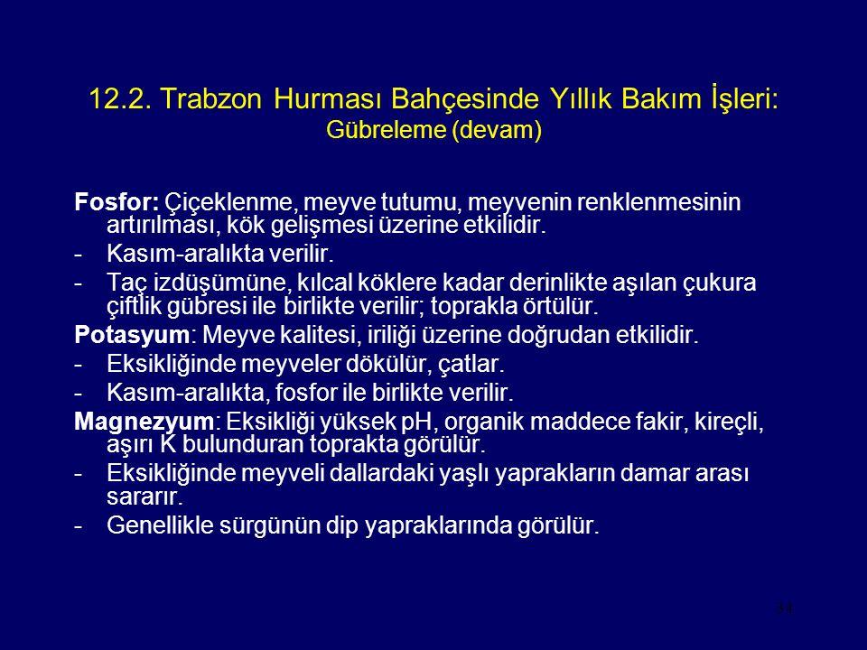 34 12.2. Trabzon Hurması Bahçesinde Yıllık Bakım İşleri: Gübreleme (devam) Fosfor: Çiçeklenme, meyve tutumu, meyvenin renklenmesinin artırılması, kök