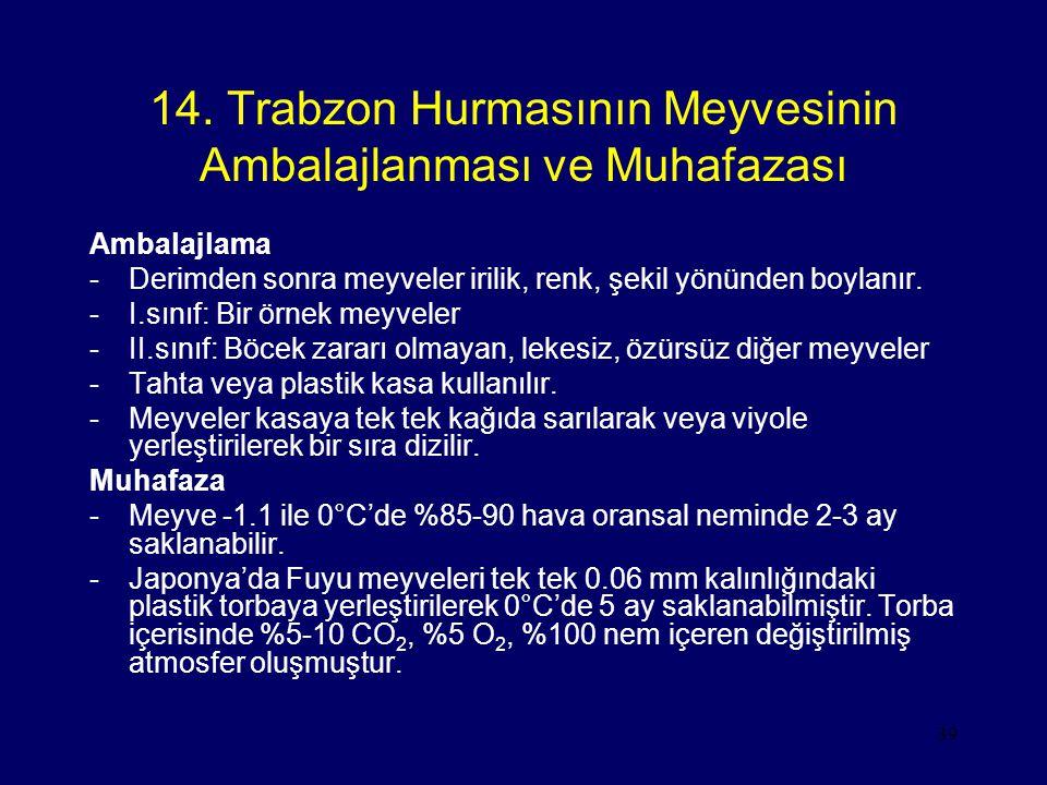 39 14. Trabzon Hurmasının Meyvesinin Ambalajlanması ve Muhafazası Ambalajlama -Derimden sonra meyveler irilik, renk, şekil yönünden boylanır. -I.sınıf
