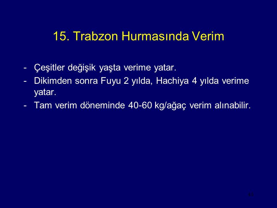 40 15. Trabzon Hurmasında Verim -Çeşitler değişik yaşta verime yatar. -Dikimden sonra Fuyu 2 yılda, Hachiya 4 yılda verime yatar. -Tam verim döneminde