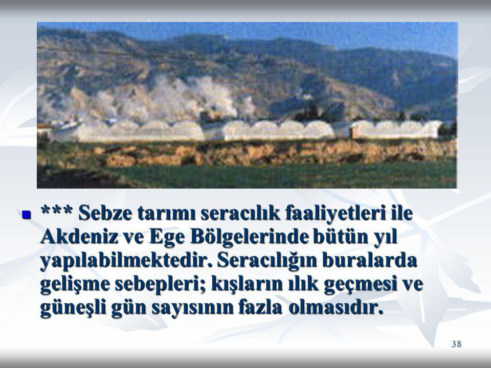 38 *** Sebze tarımı seracılık faaliyetleri ile Akdeniz ve Ege Bölgelerinde bütün yıl yapılabilmektedir. Seracılığın buralarda gelişme sebepleri; kışla