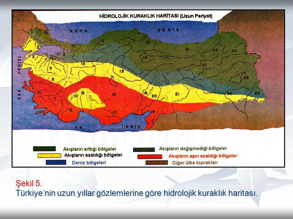 Şekil 5. Türkiye'nin uzun yıllar gözlemlerine göre hidrolojik kuraklık haritası.