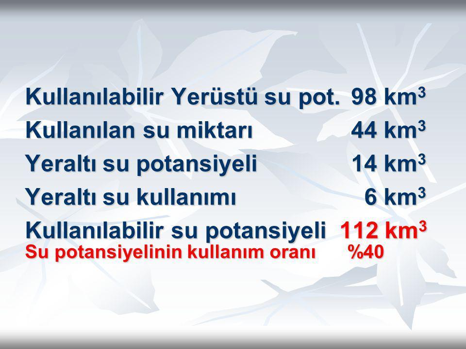 Kullanılabilir Yerüstü su pot. 98 km 3 Kullanılan su miktarı44 km 3 Yeraltı su potansiyeli14 km 3 Yeraltı su kullanımı 6 km 3 Kullanılabilir su potans