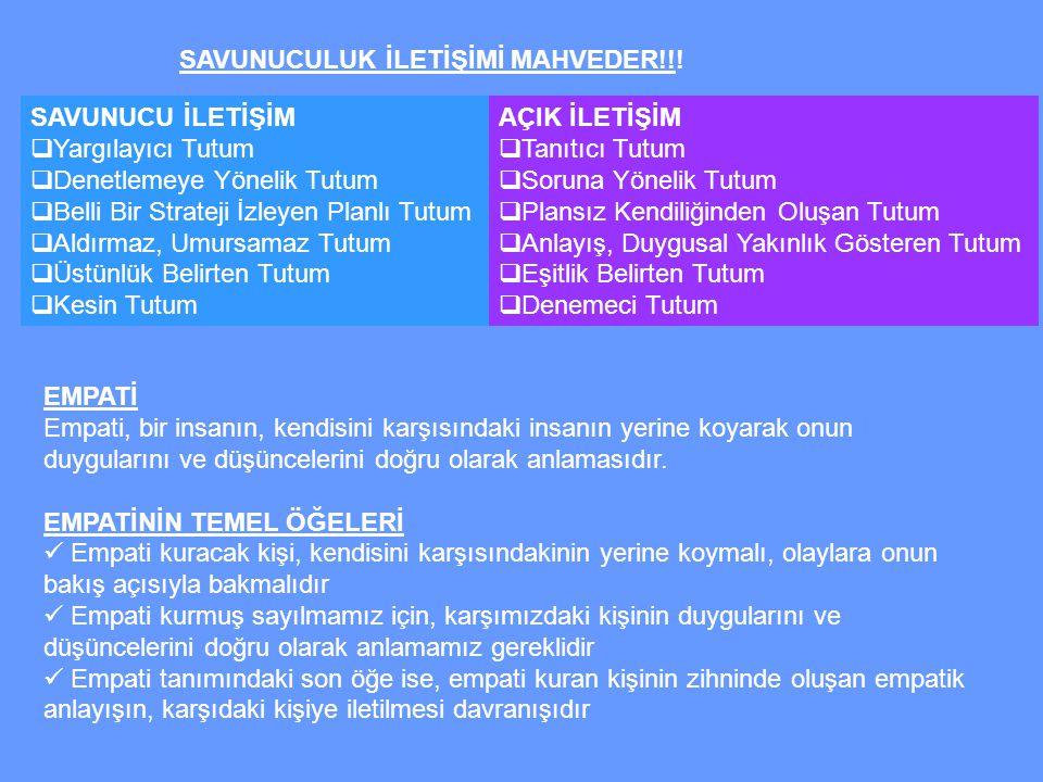 SAVUNUCULUK İLETİŞİMİ MAHVEDER!!.