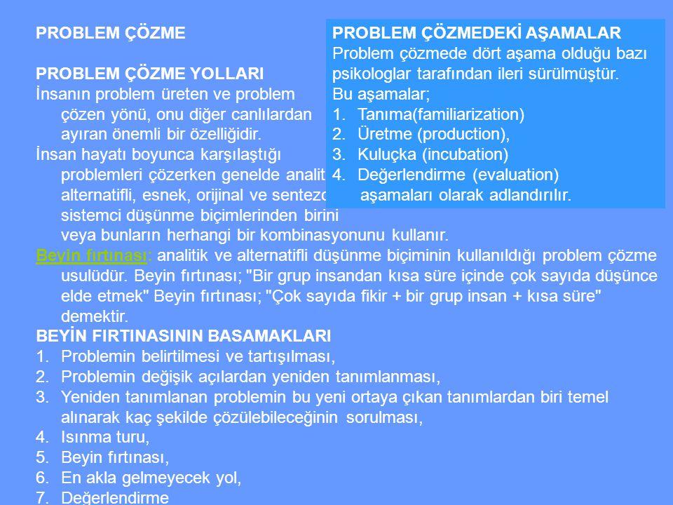 PROBLEM ÇÖZME PROBLEM ÇÖZME YOLLARI İnsanın problem üreten ve problem çözen yönü, onu diğer canlılardan ayıran önemli bir özelliğidir.