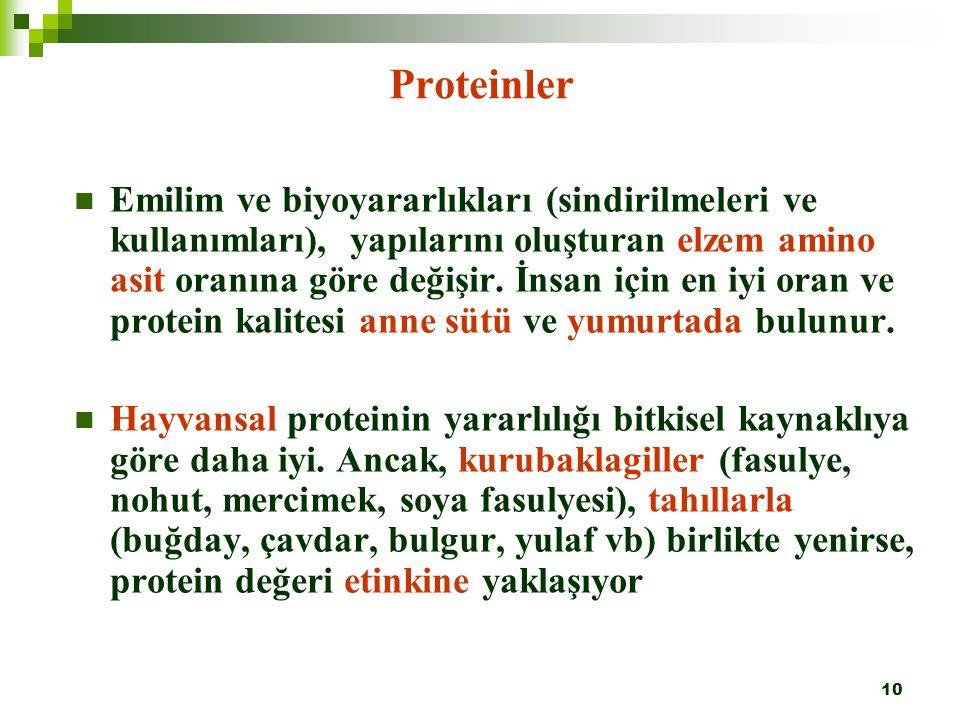 10 Proteinler Emilim ve biyoyararlıkları (sindirilmeleri ve kullanımları), yapılarını oluşturan elzem amino asit oranına göre değişir. İnsan için en i
