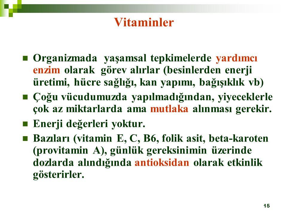 15 Vitaminler Organizmada yaşamsal tepkimelerde yardımcı enzim olarak görev alırlar (besinlerden enerji üretimi, hücre sağlığı, kan yapımı, bağışıklık