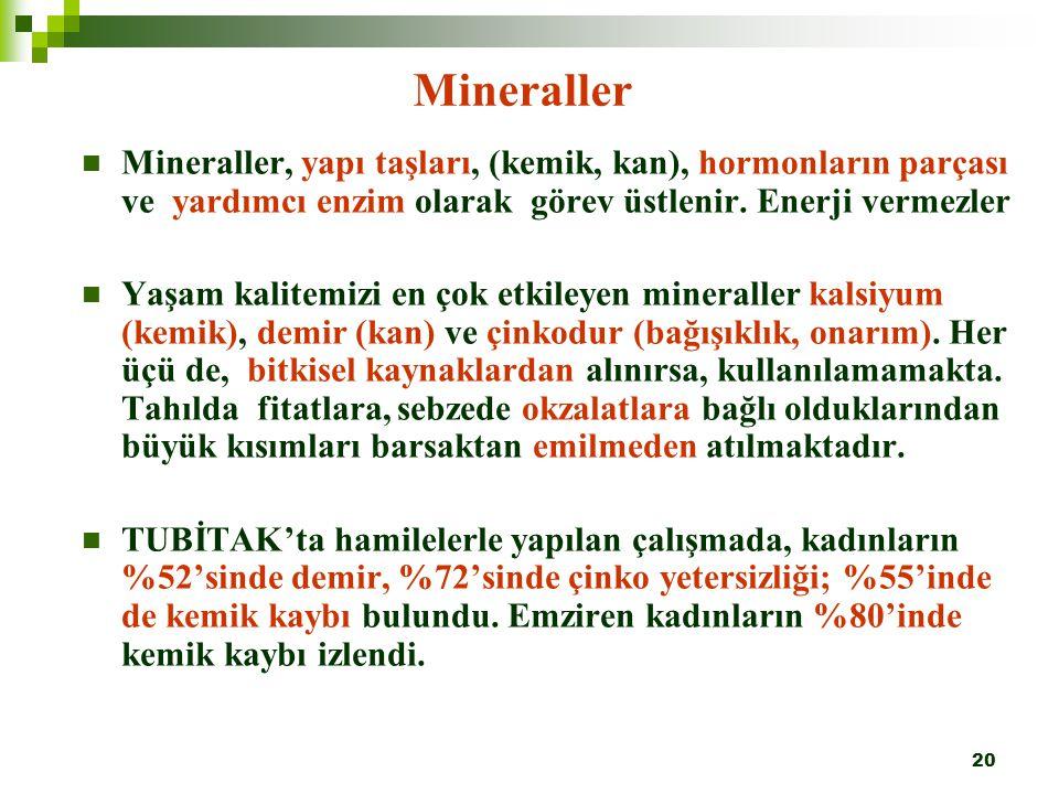 20 Mineraller Mineraller, yapı taşları, (kemik, kan), hormonların parçası ve yardımcı enzim olarak görev üstlenir. Enerji vermezler Yaşam kalitemizi e