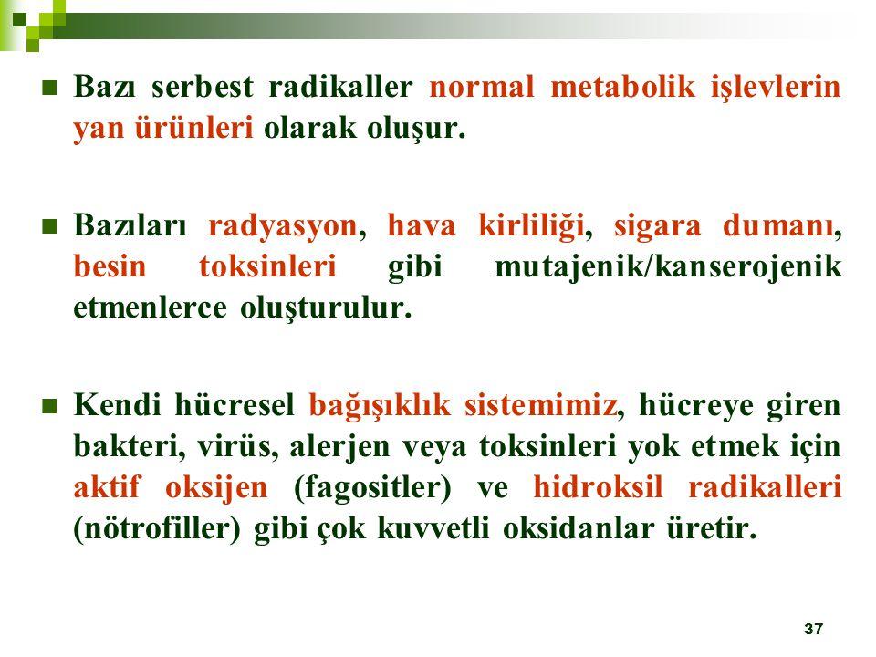 37 Bazı serbest radikaller normal metabolik işlevlerin yan ürünleri olarak oluşur. Bazıları radyasyon, hava kirliliği, sigara dumanı, besin toksinleri