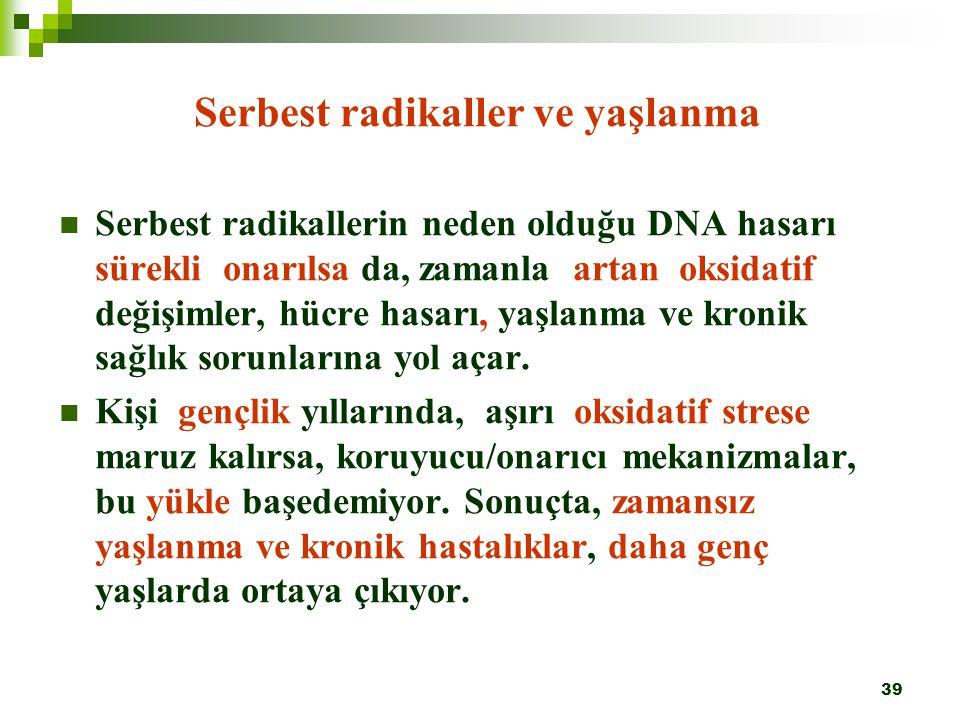 39 Serbest radikaller ve yaşlanma Serbest radikallerin neden olduğu DNA hasarı sürekli onarılsa da, zamanla artan oksidatif değişimler, hücre hasarı,