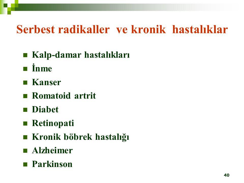 40 Serbest radikaller ve kronik hastalıklar Kalp-damar hastalıkları İnme Kanser Romatoid artrit Diabet Retinopati Kronik böbrek hastalığı Alzheimer Pa