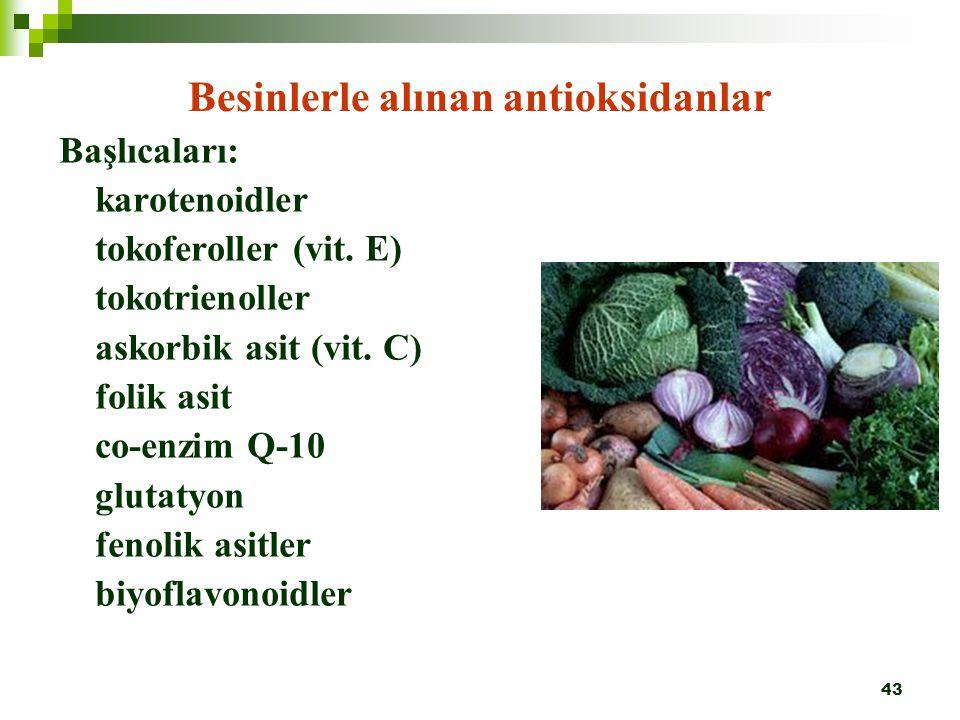 43 Besinlerle alınan antioksidanlar Başlıcaları: karotenoidler tokoferoller (vit. E) tokotrienoller askorbik asit (vit. C) folik asit co-enzim Q-10 gl