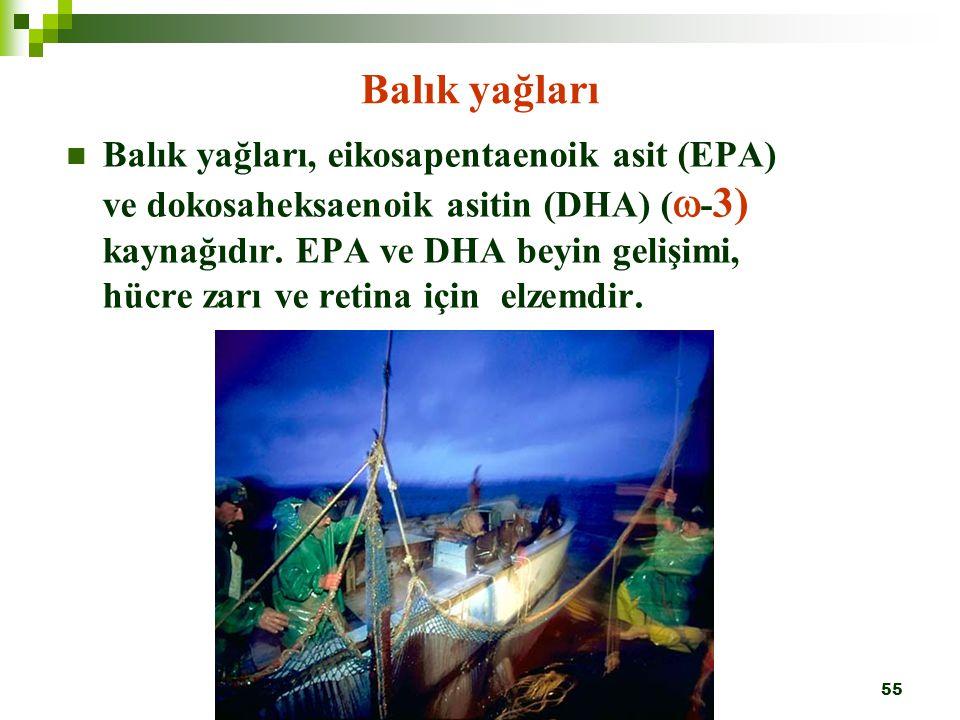 55 Balık yağları Balık yağları, eikosapentaenoik asit (EPA) ve dokosaheksaenoik asitin (DHA) (  - 3) kaynağıdır. EPA ve DHA beyin gelişimi, hücre zar
