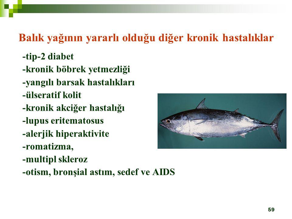 59 Balık yağının yararlı olduğu diğer kronik hastalıklar -tip-2 diabet -kronik böbrek yetmezliği -yangılı barsak hastalıkları -ülseratif kolit -kronik