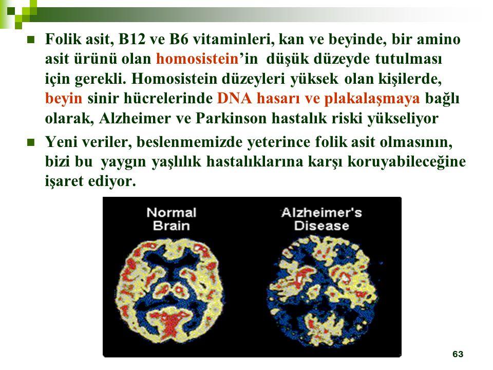63 Folik asit, B12 ve B6 vitaminleri, kan ve beyinde, bir amino asit ürünü olan homosistein'in düşük düzeyde tutulması için gerekli. Homosistein düzey
