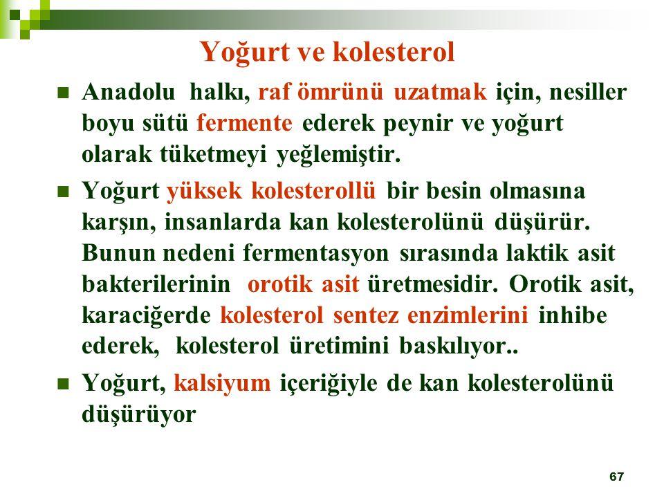 67 Yoğurt ve kolesterol Anadolu halkı, raf ömrünü uzatmak için, nesiller boyu sütü fermente ederek peynir ve yoğurt olarak tüketmeyi yeğlemiştir. Yoğu
