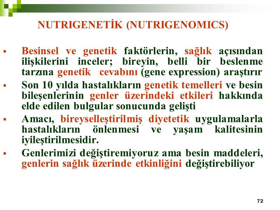 72 NUTRIGENETİK (NUTRIGENOMICS)  Besinsel ve genetik faktörlerin, sağlık açısından ilişkilerini inceler; bireyin, belli bir beslenme tarzına genetik